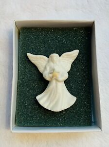 LENOX Porcelain ANGEL Lapel PIN Brooch with Gold Star Holiday Signed NOS