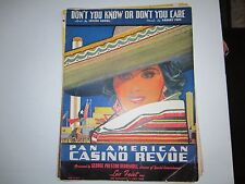 12 VINTAGE MUSIC SHEETS - PAN AMERICAN CASINO REVIEW & MORE - LOT 1 - BB-1