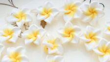 150pcs White Fimo Polymer Clay Plumeria Flower Beads 20mm medium size ~frangipan