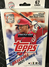 2021 Topps Baseball Series 1 Factory Sealed 67 Card Hanger Pack Box Relics Autos