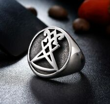925 Sterling Silver Baphomet Satan Gehörnter Mendes Umgekehrtes Pentagramm Ring