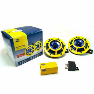 Hella H31000001 114dB 12V Sharptone Panther Dual Horn Kit (Yellow) for Universal