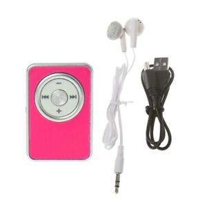 Mini Clip Music Media MP3 Player Support  Micro SD Card With Earphone USB Cable