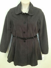 $80 (NEW) Jou Jou Gray Single Breasted Belted Pleated Notched Collar Jacket LG