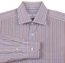 Truzzi Milano Handmade in Italy Brown Blue Multi Stripe Spread Collar Shirt 16