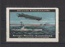 German Poster Stamp Zeppelin/ Submarine