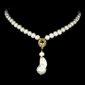 Unheated Oval Citrine 10x8mm Topaz Baroque Pearl 925 Sterling Silver Necklace