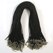 """Vente en gros 100 x Collier en Caoutchouc Noir Fermoir cordes 18 """"x 2 mm d'épaisseur"""