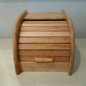 Wooden mini bread bin with feature roll top space saver by Apollo Heveawood