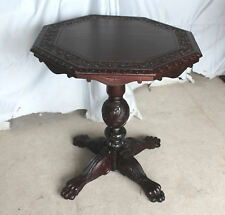 Antique Carved Mahogany Lamp Small Table - Carved Top