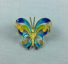 Vtg Butterfly Brooch Pin 800 Silver Enamel Filigree Alioto Adriana Genoa Italy