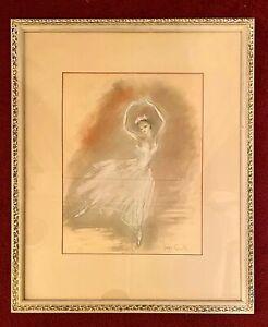 GEORGIA CARROLL - Framed Impressionist Pastel of Ballerina Ballet Dancer