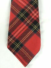 Vtg Wembley Wool Tie - Tartan Plaid Red Black Blue White Yellow