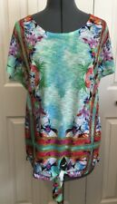 Dressbarn Short Sleeve Embellished Top Multi Color Ties in Front ~ size S    EUC