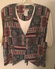 Vintage Womens Southwestern Vest and Blouse Top, Size 22