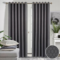 Noise Reducing Blackout Curtain Eyelet Ring Top Pair Of Grey Thermal Curtains