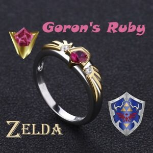 Zelda Breath of the Wild Goron's Ruby Sterling 925 Silver Engagement Ring