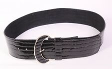 G382 Damen Gürtel Lack Leder schwarz breit 80 cm Krokolook Taillengürtel