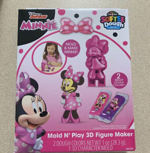 Cra-Z-Art Pink Minnie Mouse Softee Dough Mold N' Play 3D Figure Maker 2 Colors