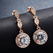Round Cut White Sapphire Drop/Dangle Earrings CZ Rose Gold Filled Party Jewelry