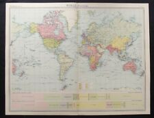 Vintage Map: The World - Political by John Bartholomew, Times Atlas, 1922