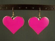 "Fuchsia Pink Gold tone enamel Heart dangle disc 2"" long earrings liteweight"