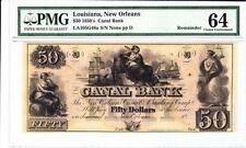 1850'S $50 CANAL BANK OF NEW ORLEANS RED BACK GRADED PMG 64 CHOICE UNCIRCULATED