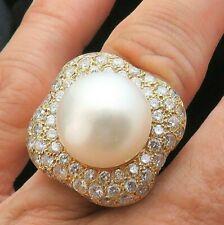Pearl 1.2ct Vs Diamond Ring 15.6g 14k Custom 18k Gold Huge 14mm South Sea