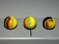 "Vintage MARBLE KING HYBRID BUMBLE BEE MARBLES x3 - Approx 5/8"" Nice"
