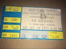 buzzcocks sat dec 15 1979 Geary Temple San Francisco ticket