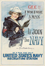 Navy Print  Gee I Wish I Were a Man Recruitment   Poster