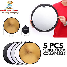 Photography Light Reflector 12 Inch Collapsible Disc Studio Photo Diffuser 5 Pcs