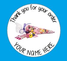 48 Personalised Sweet Shop Cone Birthday Stickers Party Thank You Business