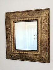 Vintage Ornate Arts & Crafts Style Gold Bevelled Glass Mirror 43cm X 38cm