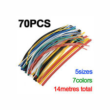 70 Pcs Heat Shrink Heatshrink Wire Wrap Sleeve Car Electrical Cable Tube Tubing