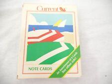 Vintage Current Retro Beach Card Set of 12 Seaside Umbrella Red Yellow Blue