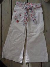 Pantalon droit blanc brodé fil argenté + ceinture assortie Shiny Taille 4 ans