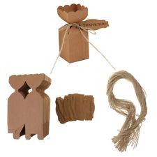 50pcs Vintage Kraft Paper Candy Boxes w/ cards Jute Rope Wedding Gift Favor Case