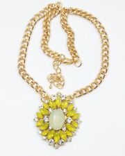 Women's Yellow and Clear Crystal Pendant Necklace Dress Chain Jewellery