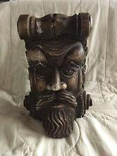 Vintage Decorative Wall Corbel Plaster Shelf Man's Face Carved Face Corbel