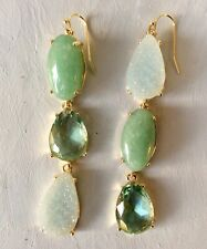 $58 NWT Anthropologie Green Harmonius Stone Drop Earrings Breathtaking!