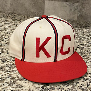 Vintage Kansas City Monarchs Negro League Fitted Hat Cap Size 7 3/8 Wool USA