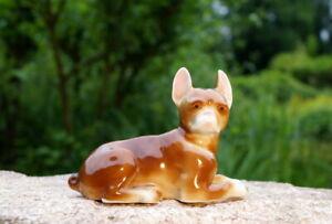 wunderschöne Porzellanfigur Art Deko französische Bulldogge Porzellan Handarbeit