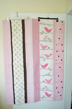 Pottery Barn Kids Penelope Baby Crib Quilt Pink Brown Birds on Branch Polka Dots