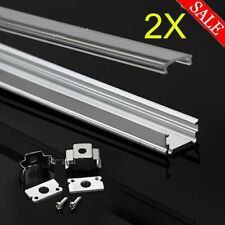 2x1M Aluminium Channel Alloy Profile Bar Diffuser Track for LED Strip Lights Cab