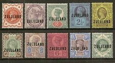 ZULULAND 1888-93 GB JUBILEE OVPT TO 1/- SG1/10 ONLY 1405 SETS SOLD CAT £590