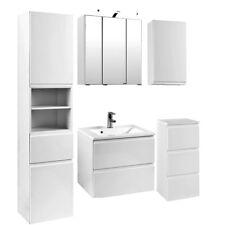 Badezimmermöbel Set Hochglanz weiß 60cm Waschtisch & LED Spiegelschrank Badmöbel