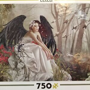 Nene Thomas Swan Song Ceaco Puzzle Fairy Black Wings Ethereal Fantasy Forest