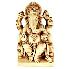 "GANESHA STATUE 4.5"" Hindu Elephant God HIGH QUALITY Sitting White Resin India"