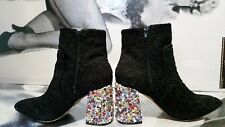 0WOMEN BETSEY JOHNSON BOOTS embellished Pointed BLACK LACE/multicolor  EU 39 ,40